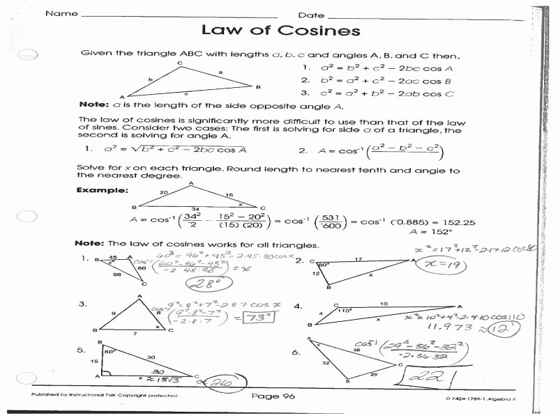 Law Of Cosines Worksheet Awesome Law Cosines Worksheet Pdf