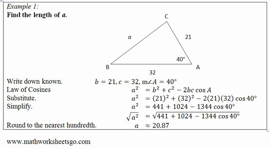 Law Of Cosines Worksheet Beautiful Law Sines and Cosines Worksheet