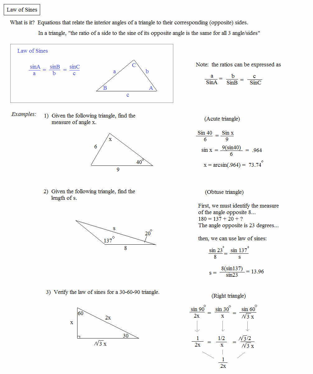 Law Of Cosines Worksheet Fresh Math Plane Law Of Sines and Cosines & area Of Triangles