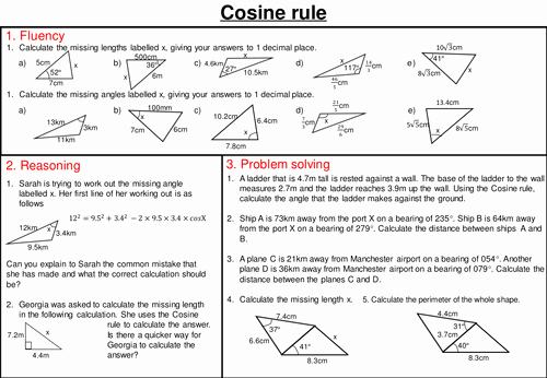 Law Of Cosines Worksheet Fresh Sine and Cosine Rule Mastery Worksheets by Joybooth