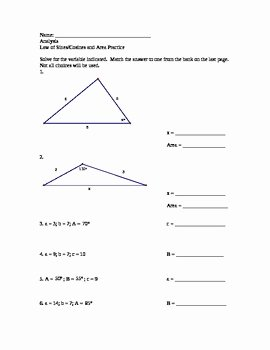Law Of Cosines Worksheet Inspirational Law Of Sines and Cosines Practice Worksheet with Answer