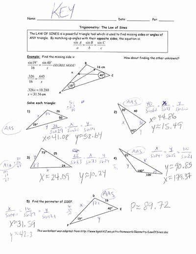 Law Of Cosines Worksheet Luxury Law Sines and Cosines Worksheet
