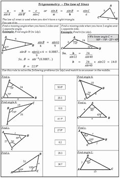 Law Of Cosines Worksheet Luxury Laws Sines and Cosines solve and Match by 123 Math