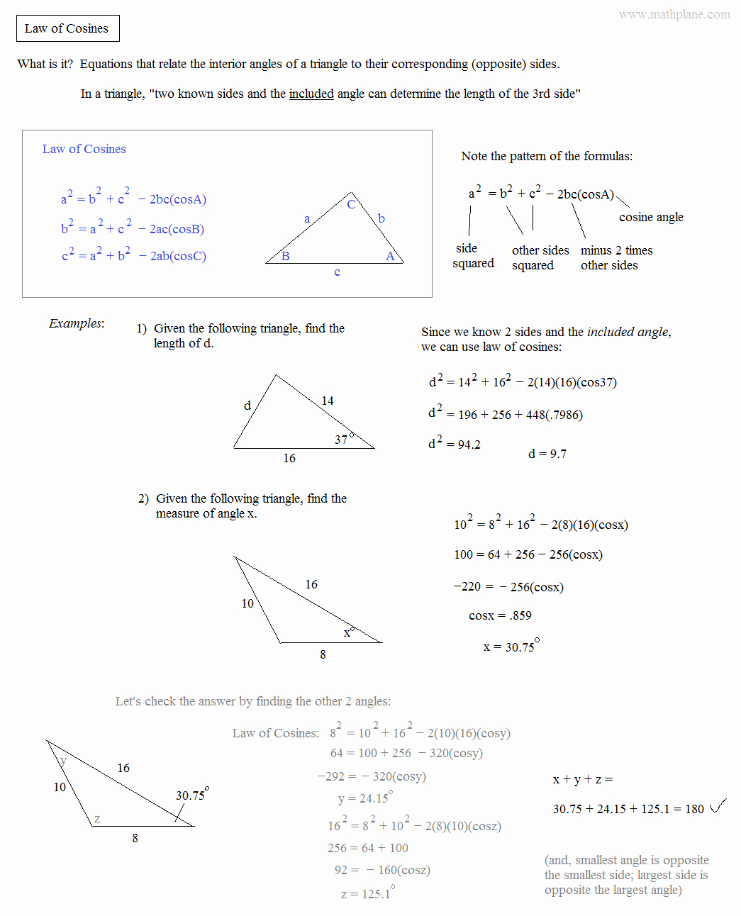 Law Of Cosines Worksheet Luxury Math Plane Law Of Sines and Cosines & area Of Triangles