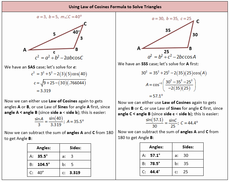Law Of Cosines Worksheet New Law Of Sines