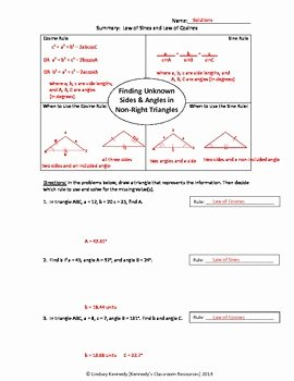 Law Of Cosines Worksheet Unique Practice with Law Of Sines and Law Of Cosines Worksheet