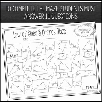 Law Of Sines Worksheet Answers Awesome Law Of Sines and Law Of Cosines Maze Worksheet by Amazing