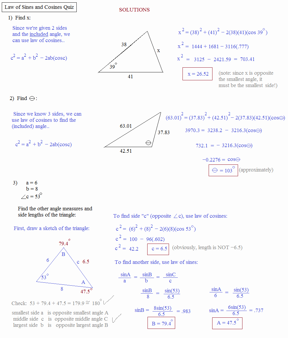Law Of Sines Worksheet Answers Awesome Law Sines Cosines Worksheet