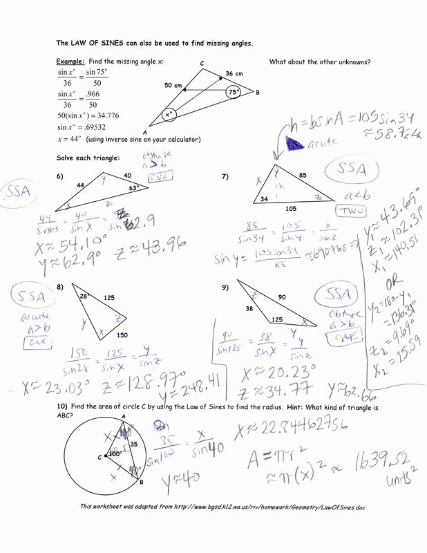 Law Of Sines Worksheet Answers Elegant Hw 12 9 14 Math with Ms Roach