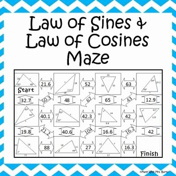 Law Of Sines Worksheet Answers Fresh Law Of Sines and Law Of Cosines Maze