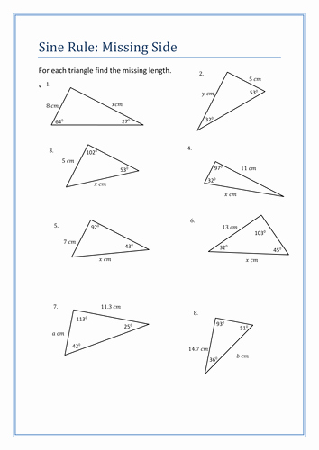 Law Of Sines Worksheet Answers Fresh Sine Rule Questions Sheet by Holyheadschool