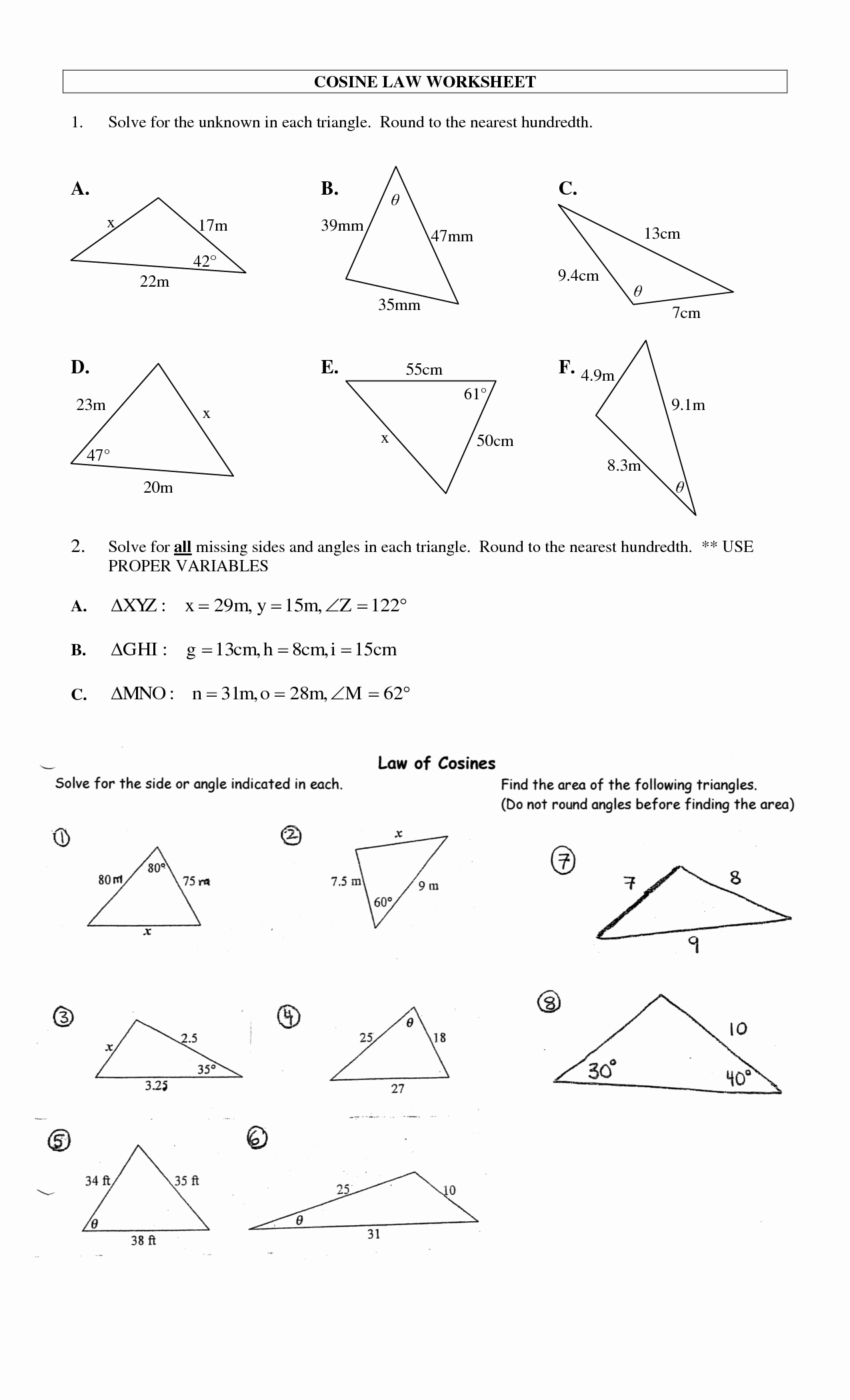 Law Of Sines Worksheet Answers Inspirational 8 Best Of Law Sines Worksheet Answers Law Of