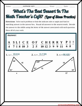Law Of Sines Worksheet Answers Inspirational Right Triangles the Law Of Sines Practice Riddle