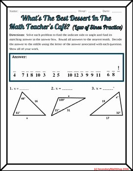 Law Of Sines Worksheet Answers Lovely Right Triangles the Law Of Sines Practice Riddle