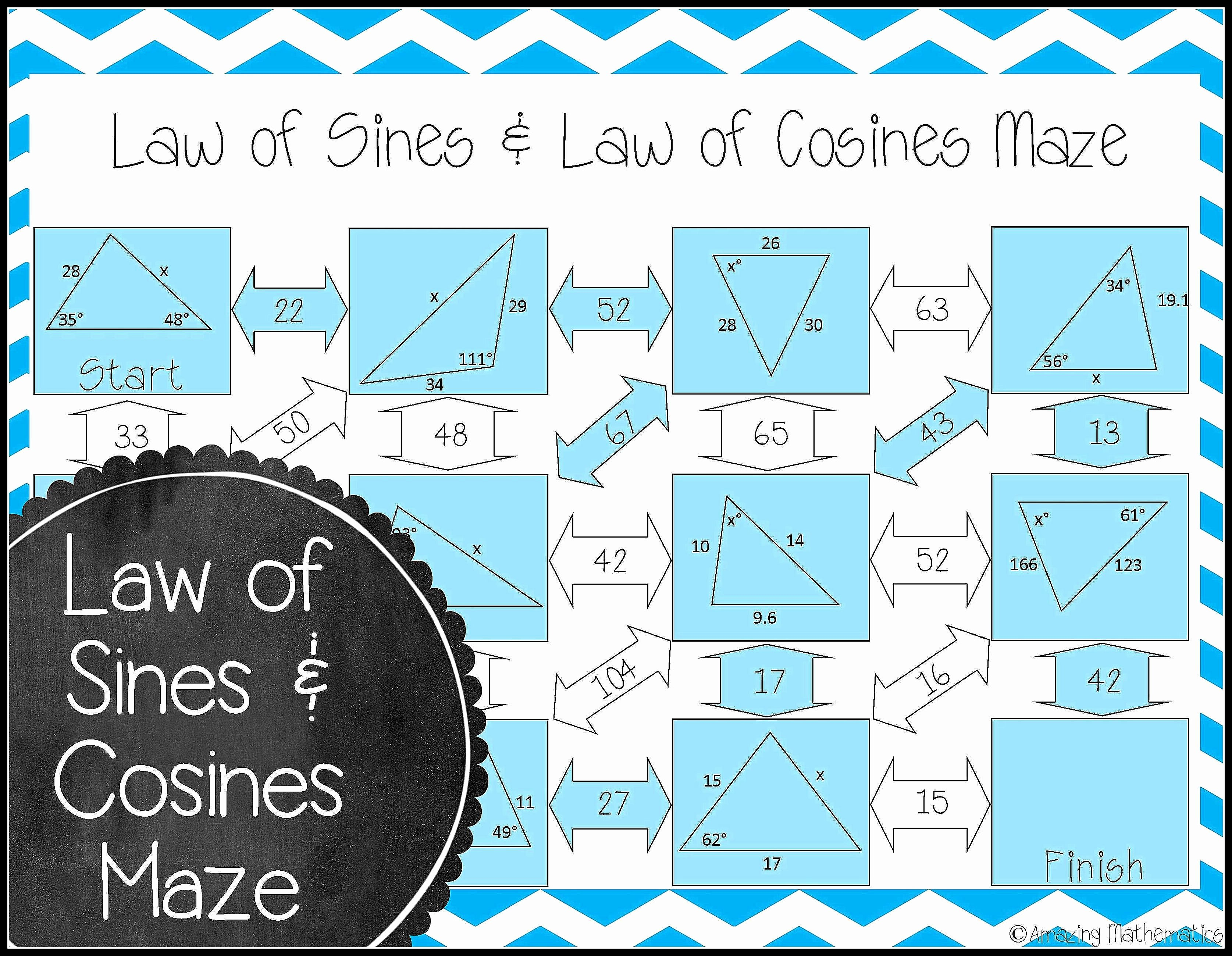 Law Of Sines Worksheet Answers New Law Of Sines and Law Of Cosines Maze Mathematics