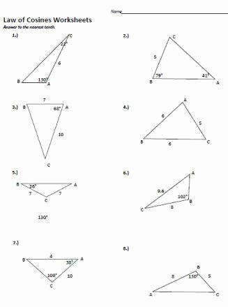 Law Of Sines Worksheet Elegant Law Sines and Cosines Worksheet