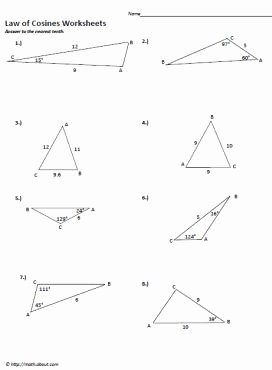 Law Of Sines Worksheet Elegant Sin and Cosine Worksheets Maths