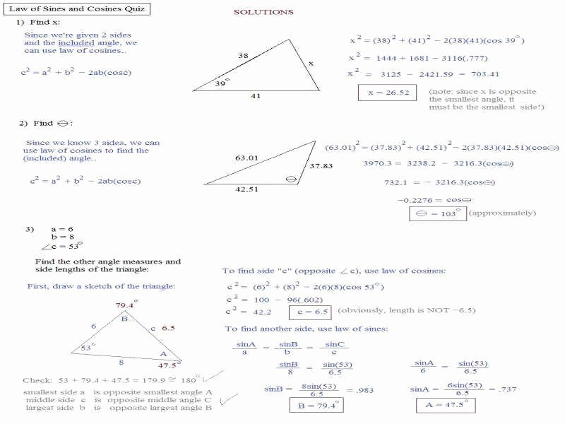 Law Of Sines Worksheet Lovely Law Sines and Cosines Worksheet