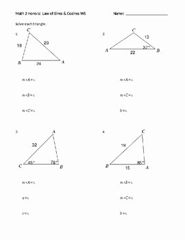 Law Of Sines Worksheet Luxury Law Of Sines & Cosines Worksheet by Sarah Dragoon