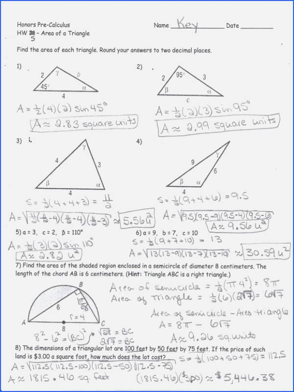 Law Of Sines Worksheet New Law Sines and Cosines Worksheet
