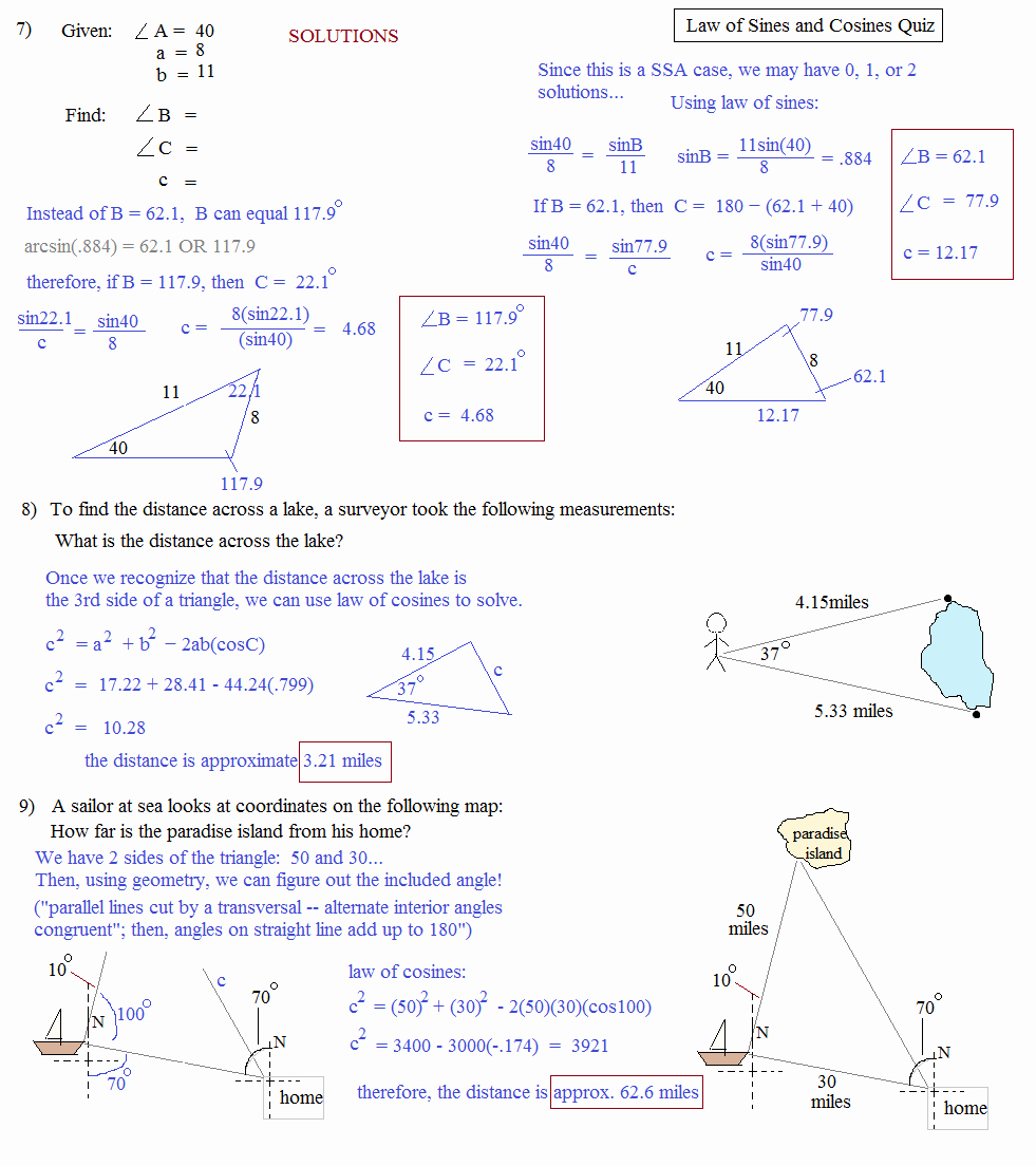 Law Of Sines Worksheet New Math Plane Law Of Sines and Cosines & area Of Triangles
