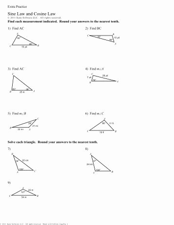 Law Of Sines Worksheet Unique Law Of Cosines Kutasoftware