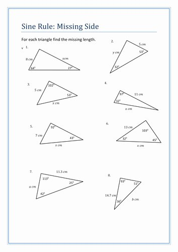 Law Of Sines Worksheet Unique Law Sines and Cosines Worksheet