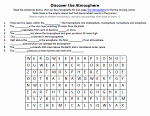 Layers Of the atmosphere Worksheet Awesome atmosphere Worksheet Free to Download Printable Find
