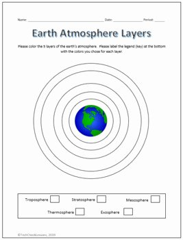 Layers Of the atmosphere Worksheet Inspirational Earth S atmosphere Layers Coloring Labeling Worksheet