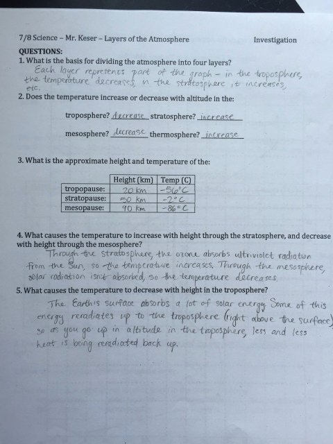 Layers Of the atmosphere Worksheet Lovely Eighth Grade Lesson Layers Of the atmosphere