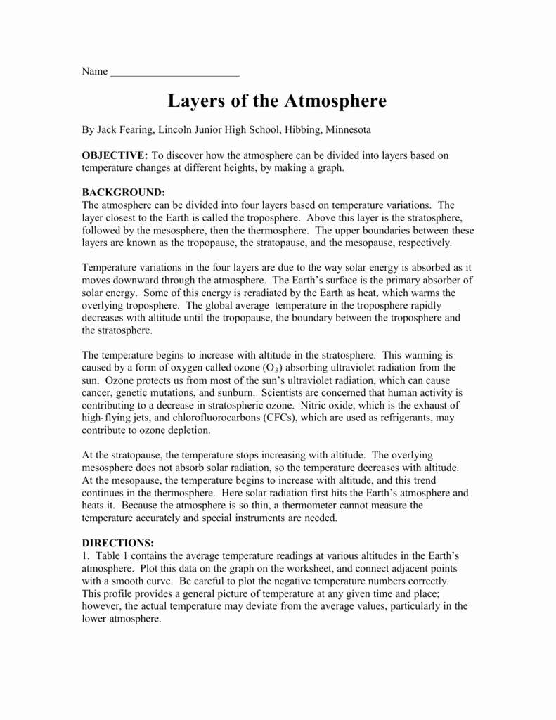 Layers Of the atmosphere Worksheet Lovely Publicado atmosphere Worksheets