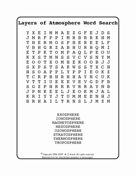 Layers Of the atmosphere Worksheet Luxury Layers Of the atmosphere Word Search Worksheet for 5th