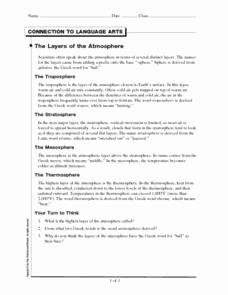 Layers Of the atmosphere Worksheet Luxury the Layers Of the atmosphere Worksheet for 6th 10th