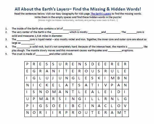 Layers Of the Earth Worksheet Awesome Image Of Earth S Layers Worksheet Free Word Searches for
