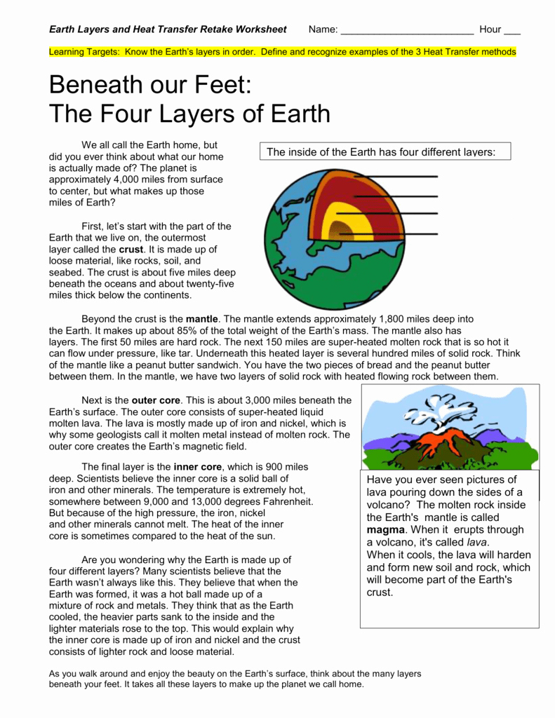 Layers Of the Earth Worksheet Beautiful Earth Layers & Heat Transfer Retake Worksheet