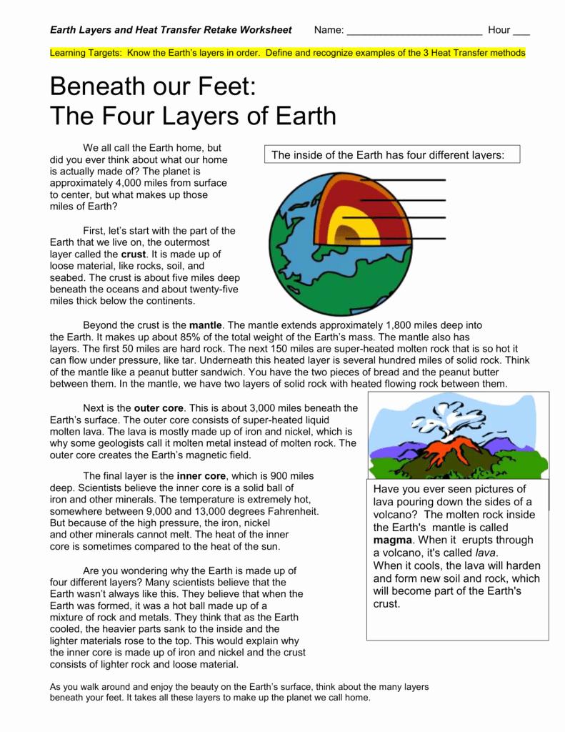 Layers Of the Earth Worksheet Beautiful Earth Layers & Heat Transfer Retake Worksheet