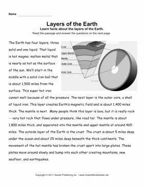 Layers Of the Earth Worksheet Unique Earth Layers Prehension Fourth Grade