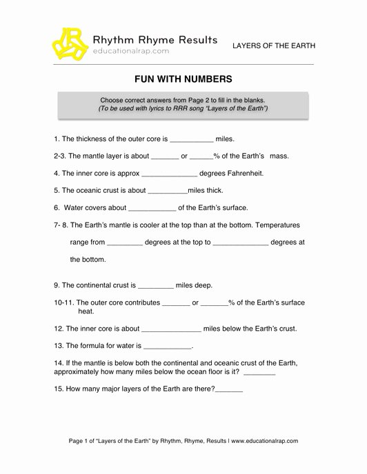 Layers Of the Sun Worksheet Beautiful 17 Best Of Middle School Earth Science Worksheets