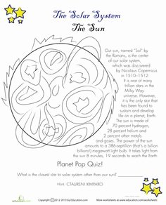 Layers Of the Sun Worksheet Lovely Parts Of the Sun Worksheet