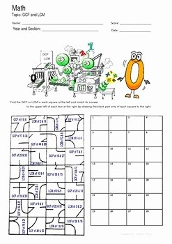Lcm and Gcf Worksheet Best Of Gcf and Lcm Fun Puzzle Worksheet Activity by Math Guru and