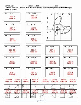 Lcm and Gcf Worksheet Best Of Gcf and Lcm Puzzle Activity Worksheet by Cgr Educational