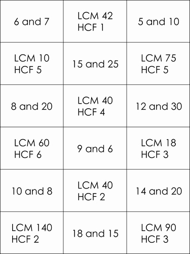 Lcm and Gcf Worksheet Elegant Ks3 Hcf and Lcm Matching Cards by Bcooper87 Teaching