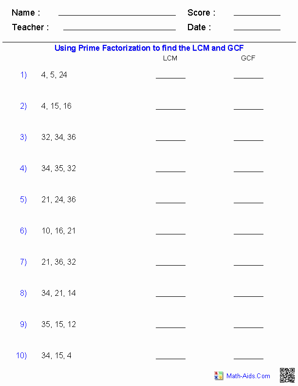 Lcm and Gcf Worksheet Lovely Factors Worksheets