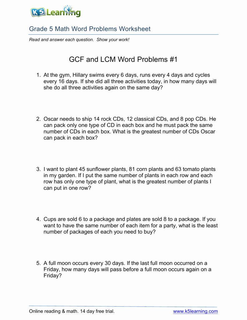 Lcm and Gcf Worksheet Luxury Gcf and Lcm Word Problems 1
