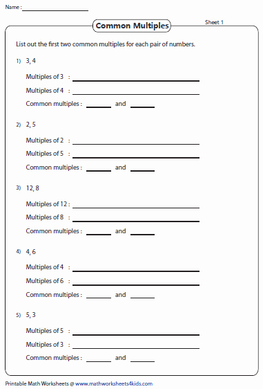 Least Common Multiple Worksheet Awesome Least Mon Multiple Worksheets
