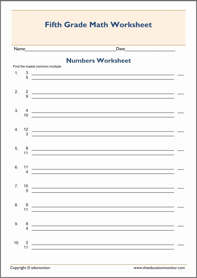 Least Common Multiple Worksheet Beautiful Least Mon Multiple Worksheet for Kids
