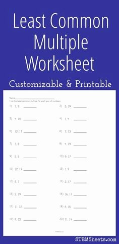 Least Common Multiple Worksheet Best Of Greatest Mon Factor 1to 20 From Study Village Website