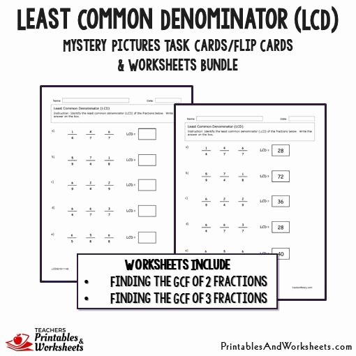 Least Common Multiple Worksheet Fresh Least Mon Denominator Lcd Task Cards and Worksheets