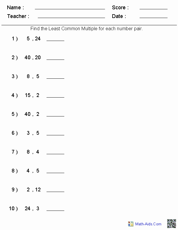 Least Common Multiple Worksheet Luxury Factors Worksheets
