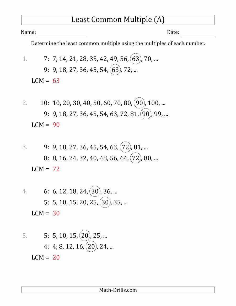 Least Common Multiple Worksheet New Least Mon Multiple From Multiples Of Numbers to 10 Lcm